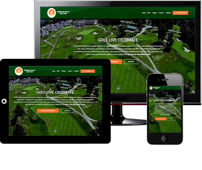 Merrimack Valley Golf Club responsive web design by Bontra Web