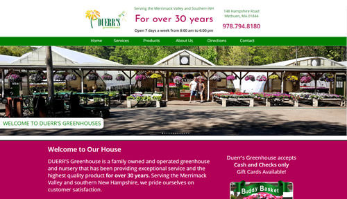 Bontra Web Design - Duerr's Greenhouses Methuen, MA